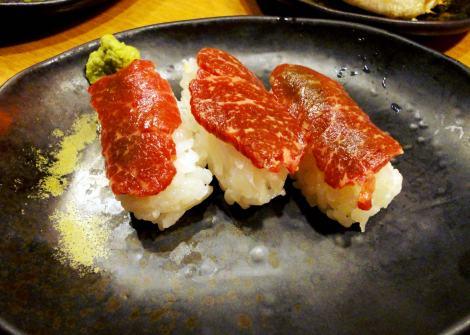 Eating bashashi, raw horse flesh, in Japan