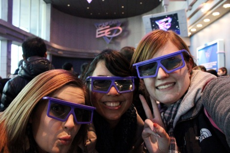 Good thing these glasses hid the bags under our eyes--and the fact that I was sleeping during EVO